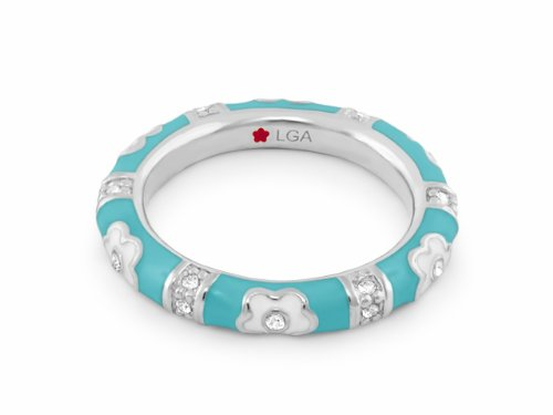 Lauren G Adams Rhodium-Plated Stackable Pave Daisy Love Ring with Blue Enamel