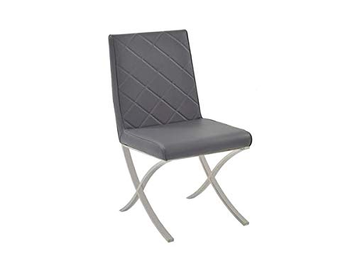 Gray Eco-Leather Guest or Conference Chair with Criss-Cross Base(Set of 2)