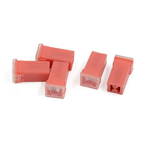 uxcell 5pcs 30A Female Plug-in Auto Link Cartridge PAL Mini Fuse Pink for Car