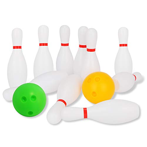 Liberry Kids Bowling Set Includes 10 Classical White Pins and 2 Balls, Suitable as Toy Gifts, Early Education, Indoor & Outdoor Games, Great for Toddler Preschoolers and School-age Child, Boys & Girls -