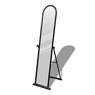 SKB Family Free Standing Floor Mirror Full Length Rectangular Black Vanity Makeup Beauty Decor - This mirror is a simply-styled full-length mirror that will fit comfortably with your decor in any room. The mirror frame is crafted from lacquer coated steel which is scratch and rust resistant, thus ensuring its durability and stability in use. This mirror tilts to provide many viewing angles. - mirrors-bedroom-decor, bedroom-decor, bedroom - 31Am THk4UL. SS400  -