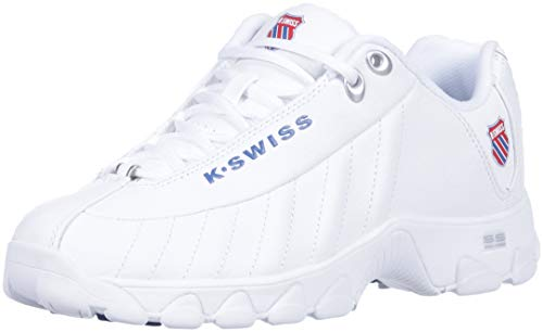 K-swiss Womens Classic Leather Tennis Shoe - K-Swiss Women's ST329 Heritage Sneaker, White/Classic Blue/Ribbon red, 10 M US