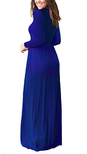 Sleeve Women Blue Dresses Long Loose Casual DEARCASE Pockets Long Dark Maxi Dresses Plain ap1Fdwqx