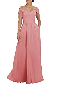 Women's Off The Shoulder Pleated Chiffon Bridesmaid Dress Formal Evening Party Gown with Pockets