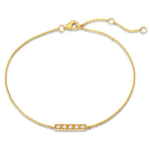 Square Swarovski Rosary Bracelet - Carleen 14k Solid Yellow Gold Diamond Dainty Bar Bracelet for Women Girls (0.125cttw, Clarity SI2, Color I-J), 7