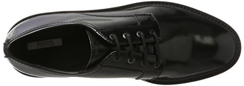 Geox D Quinlynn C, Derby para Mujer Negro (Black)