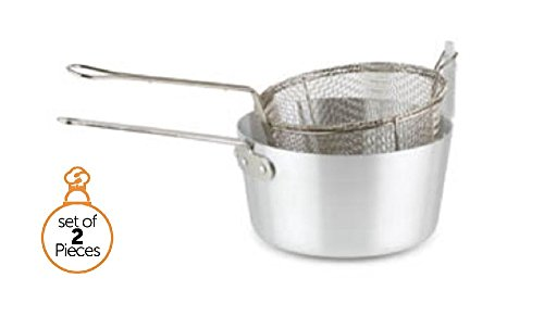 Stove Top Deep Fryer Pot with Fry Basket-8 1/3 Quart Aluminum Pot-9 1/2