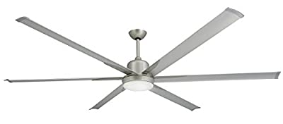 "TroposAir Titan Brushed Nickel Large Industrial Ceiling Fan with DC-Motor, 84"" Extruded Aluminum Blades, Integrated Light and Remote"