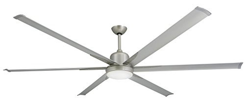TroposAir Titan Brushed Nickel Large Industrial Ceiling Fan with DC-Motor, 84