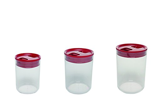 Click Clack Pantry Canisters with Red Lids, 1-Quart, 2.4-Quart and 4.2-Quart, Set of 3 (Click Clack Canister)