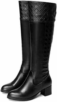 29ccde8c8da Hoxekle Winter Women Knee-High Boots Middle Heels Round Toe Zip Sexy Ladies  Shoes Black