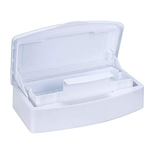 Plastic Sterili-zing Tray,Tool sterili-zation box,Nail Tools Plastic Disinf-ection Box Beauty Tool Disinf-ection Tray Disinfec-tion Box,Tweezers, Hair Salon, Spa & Cutter Manicure Equipment-(White)