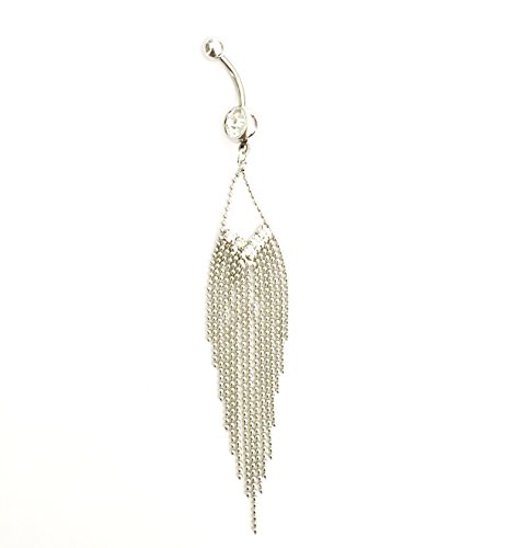 316L Surgical Steel 14 Guage Dazzling clear Gem Rhinestone 15-Tassels Chain Dangle Navel Belly Bar Ring Barbell Body Jewelry