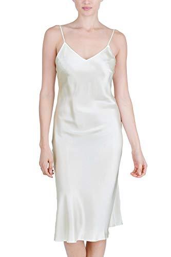 OSCAR ROSSA Women's Luxury Silk Sleepwear 100% Silk Full Slip Chemise Lingerie Nightgown, Ivory, Medium