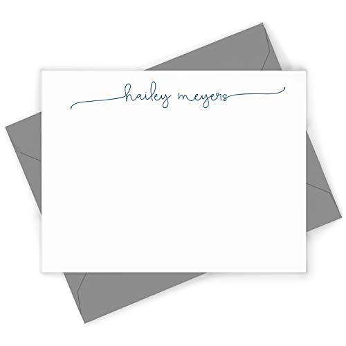 SWASH SCRIPT - Personalized FLAT Elegant Women's Girl's Pretty Stationery/Stationary Card and Envelopes Set