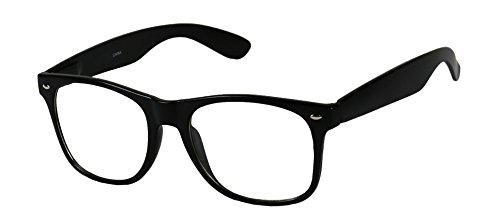 Basik Eyewear - Clear Lens Nerd Geek 80s Style Wayfarer Retro Frame Rx Eye - Nerd Style Men