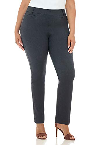 Rekucci Curvy Woman Ease in to Comfort Straight Leg Plus Size Pant w/Tummy Control (20W,DK Charcoal)