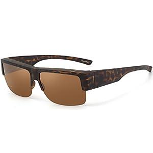 CAXMAN Wear Over Glasses Sunglasses Polarized Lens for Prescription Glasses, Medium Sized Half Frame, Tortoise Frame Brown Lens