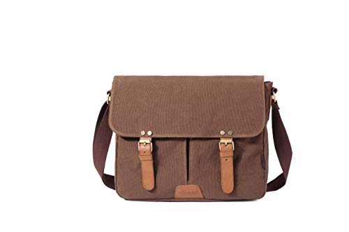 KAUKKO Vintage Men Messenger Bag, Canvas Crossbody Shoulder Bags Laptop Briefcase Coffee
