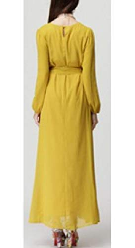 Qianqian-au Caftan Femmes Musulmanes Manches Longues En Mousseline De Soie Islamic Robe Maxi Arabe Jaune