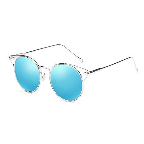 Fashion de de Lunettes circulaire Retro de protection UV Couleur soleil Rose protection personnalité transparentes ZHIRONG Bleu solaire lunettes couleur Lady polarisées 5SY1w7dx