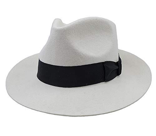 Felt Fedora Wool Hat Classic Manhattan Mens Indiana Jones Hats Gangster Stain Unisex(White)