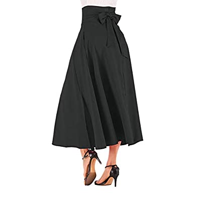 NREALY New Women's High Waist Pleated A Line Long Skirt Front Slit Belted Maxi Skirt