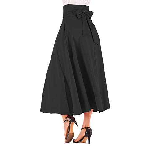 Skirt Pleated White Sequin (NREALY New Women's High Waist Pleated A Line Long Skirt Front Slit Belted Maxi Skirt(XL, Black))