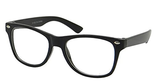 grinderPUNCH Kids Nerd Glasses Clear Lens Geek Costume Black Frame Children's (Age 3-10)]()