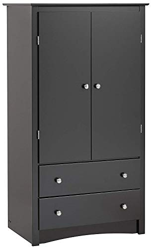 SHIJIAN 2 Door Armoire Wooden Handmade Wardrobe, Lockers,Black