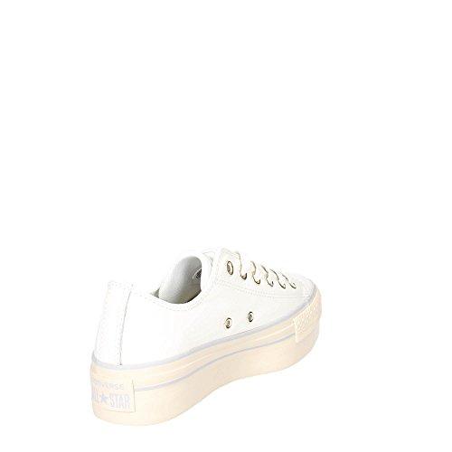 Converse 558914c Wit Wit Platte Schoenen Vrouwen Platform Sneakers Veters Ster Wit / Licht Goud