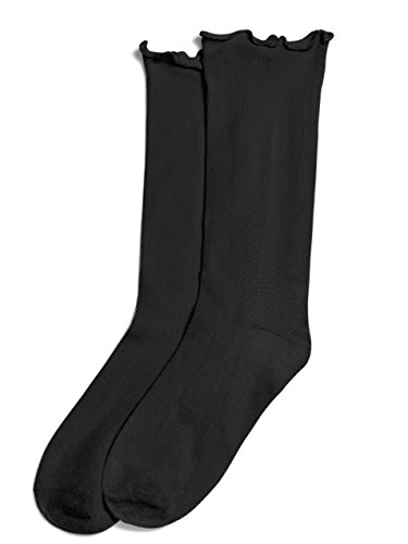 - Hue Womens Lettuce edge Sock BLACK