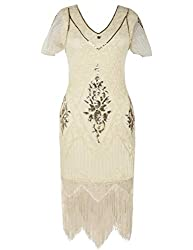 Gold Beige 1920s Sequin Art Dress with Sleeve