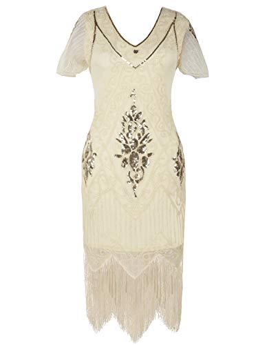 PrettyGuide Women's 1920s Dress Art Deco Cocktail Dress Short Sleeve XXL Gold Beige -