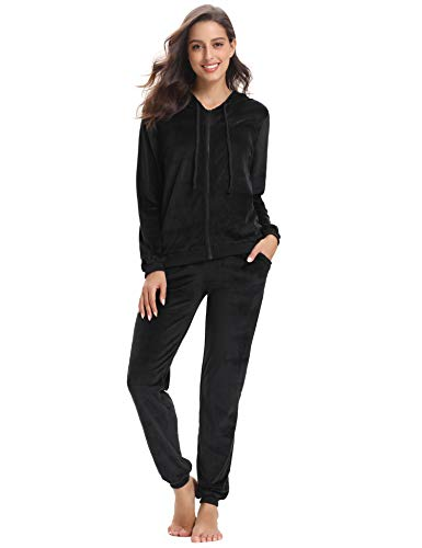 Abollria Women's Long Sleeve Solid Velour Sweatsuit Set Hoodie and Pants Sport Suits Tracksuits Black ()
