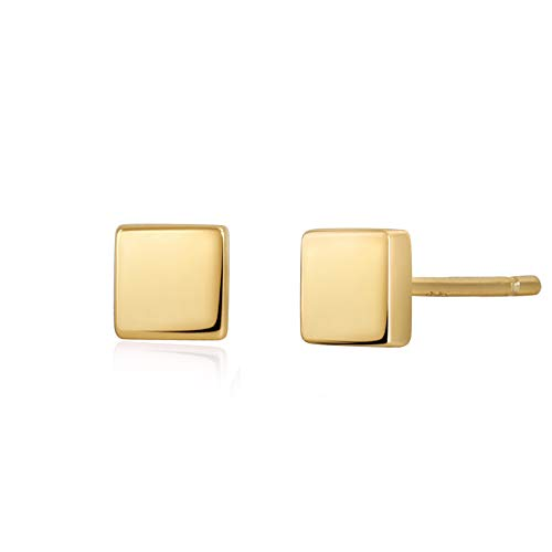 S.Leaf Minimalism Dainty Stud Earrings Sterling Silver Square Stud Earrings Everyday Wear (Yellow Gold) ()