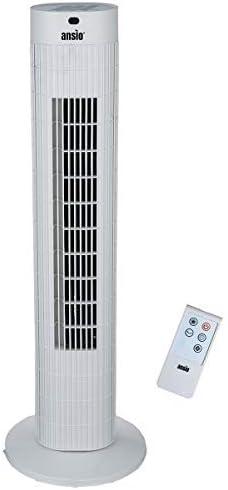 ANSIO Ventilador de Torre oscilante de 30 Pulgadas (76,2 cm) con Mando a Distancia, 3 velocidades, 3 Modos de Viento y Cable Largo de 1,75 m.-Blanco (Pilas NO Incluidas)