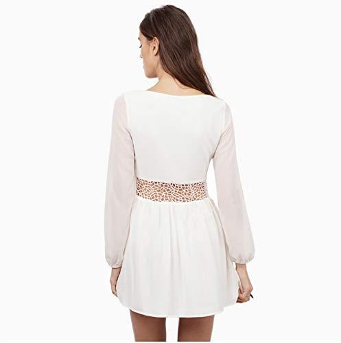 Sexy Mousseline Robe v de Cou Size White Femmes Soie Vrac Taille en Dentelle Color M Profonde White Couture Jupe lgante BBethun en vxq548g8
