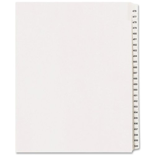 Wholesale CASE of 25 - Avery Collated Numerical Side Tab Index Dividers-Index Dividers, Side Tab, 476-500, 8-1/2''x11'', White