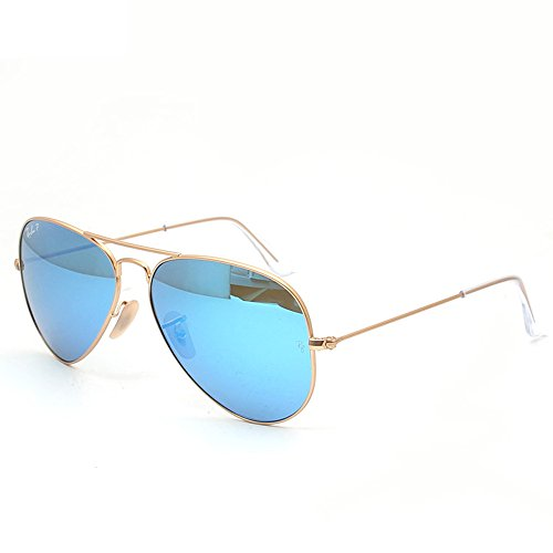 Ray-Ban AVIATOR LARGE METAL - MATTE GOLD Frame CRY.GREEN  MIRROR MULTIL.BLUE Lenses 58mm Non-Polarized