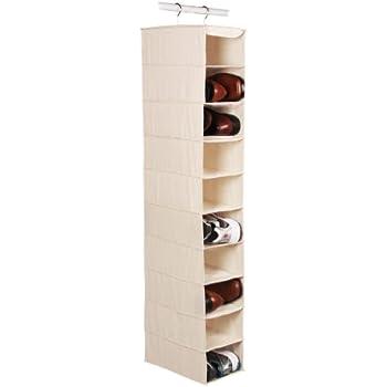 """Richards Homewares Hanging Ten Shoe Large Shelf Organizer-Canvas/Natural 50"""" x 14"""" x 8"""""""