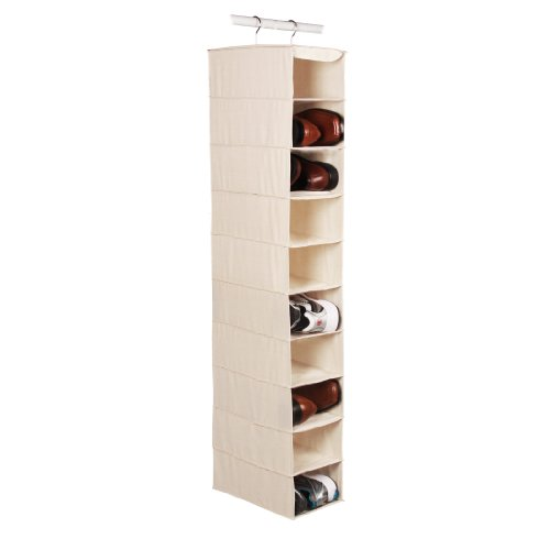 "Richards Homewares Hanging Ten Shoe Large Shelf Organizer-Canvas/Natural 50"" x 14"" x 8"""