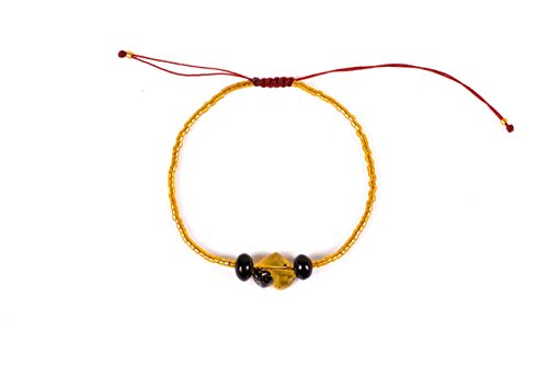 Yellow Bracelet with Hand Carved Mexican Amber Heart and Red Amber Beads for Good Luck and Protection Yellow Miyuki beads Adjustable Unisex bracelet Perfect gift for Women Best friend or Mom