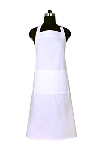 Unisex White Large Apron with Pockets, 100% Natural Cotton, Eco-Friendly & Safe, Adjustable Neck & Waist ties, Machine Washable, Cute Apron by CASA DECORS