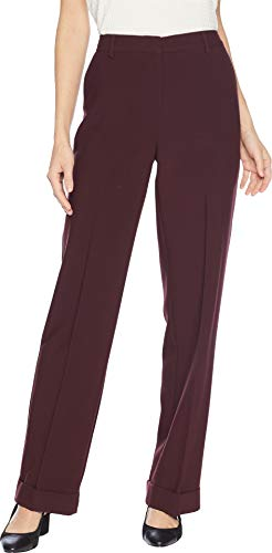 (Vince Camuto Womens Bi-Stretch Crepe Wide Leg Cuffed Pants Port 6)