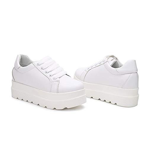 Scarpe Sneakers PU Creepers da ZHZNVX Comfort poliuretano White Fall donna Toe Nero Bianco Round q0Rwfd