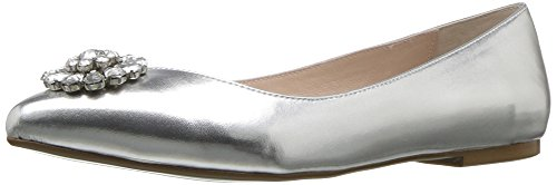Women's Toe Metallic Flat by Silver 6 US Ava Sb M Blue Pointed Betsey Johnson BtFaq