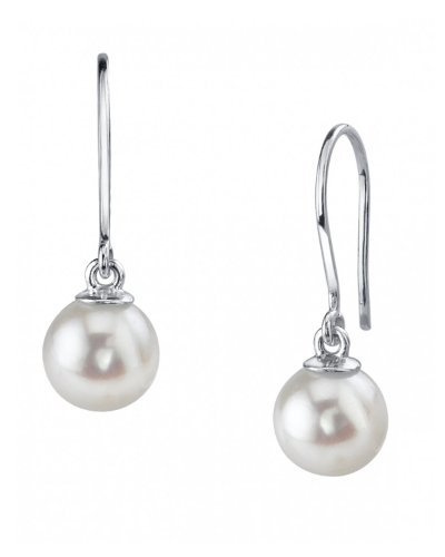 - THE PEARL SOURCE 14K Gold 10-11mm AAAA Quality Round Genuine White Freshwater Cultured Pearl Linda Earrings for Women