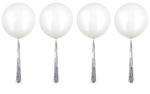 Fonder Mols 4 Pack 36 Giant White Latex Party Balloons with Metallic Silver Tassels Wedding Birthday Party Hanging Decorations