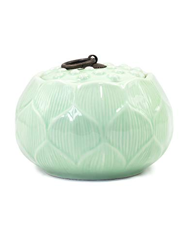 (Dahlia Lotus Shaped Glazed Celadon Handcrafted Porcelain Tea Storage/Tea Caddy/Tea Canister )